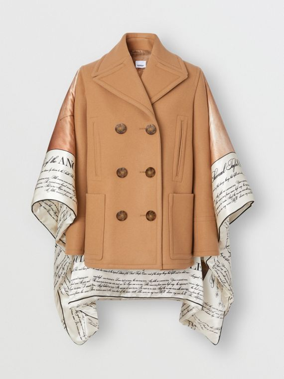 Mariner Print Blanket Detail Technical Wool Pea Coat in Warm Camel