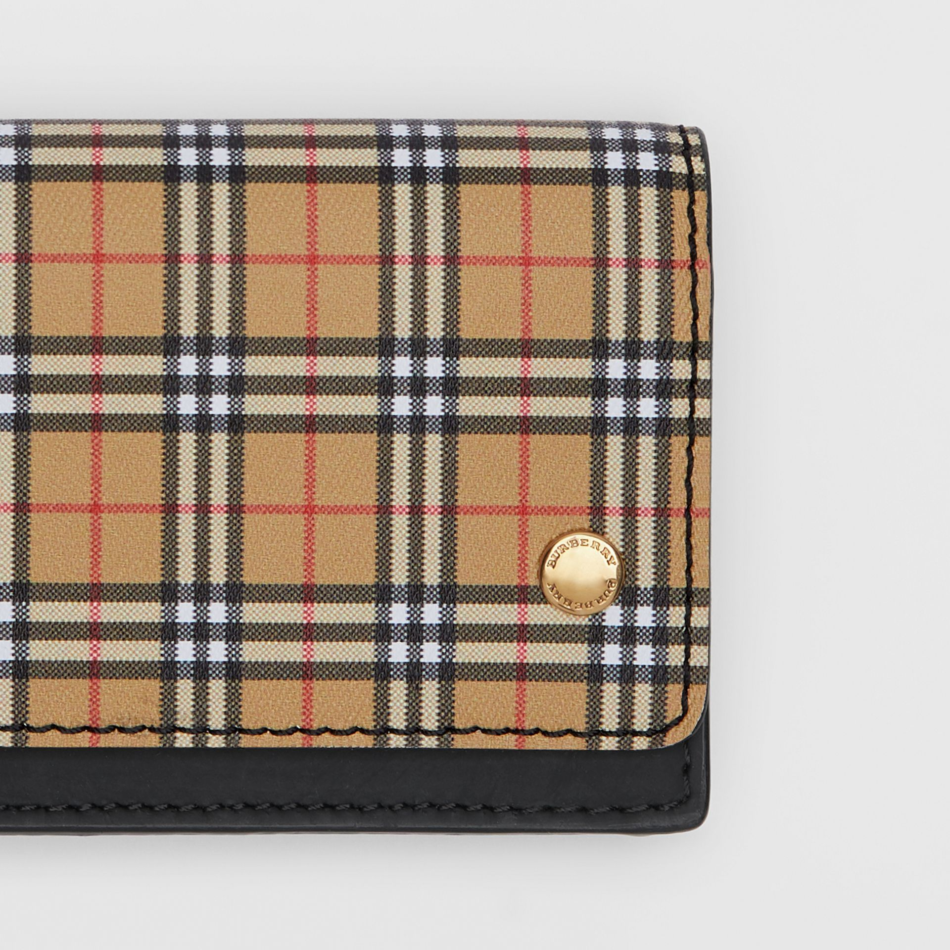 Small Scale Check and Leather Folding Card Case in Antique Yellow - Women | Burberry - gallery image 1