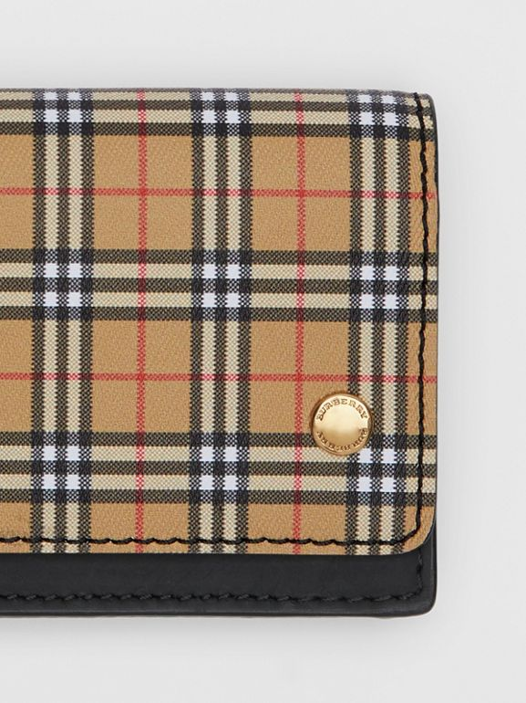 Small Scale Check and Leather Folding Card Case in Antique Yellow - Women | Burberry Canada - cell image 1