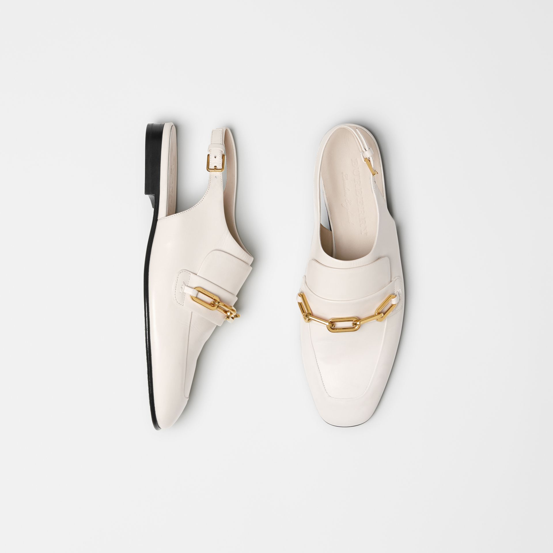 Link Detail Leather Slingback Loafers in Ash White - Women | Burberry - gallery image 0