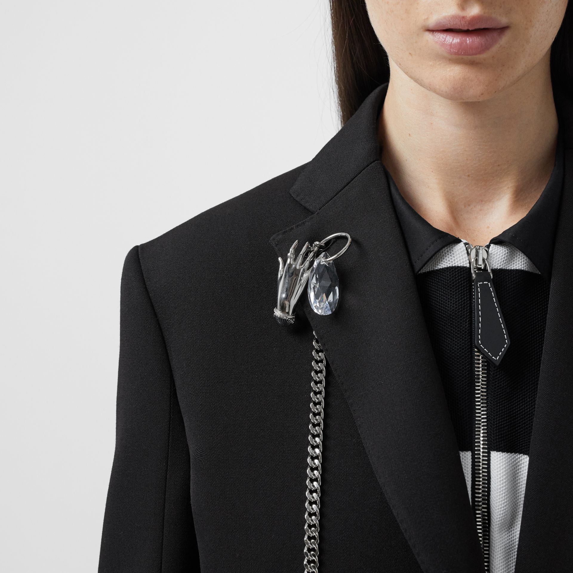 Chain Detail Wool Blazer in Black - Women | Burberry - gallery image 1