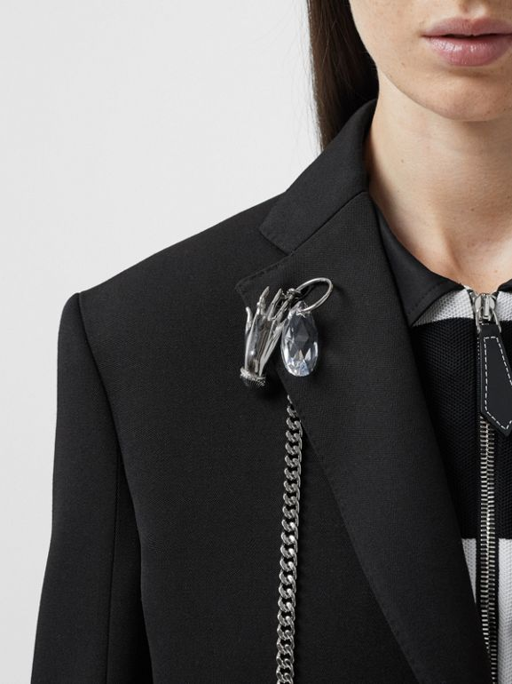 Chain Detail Wool Blazer in Black - Women | Burberry - cell image 1