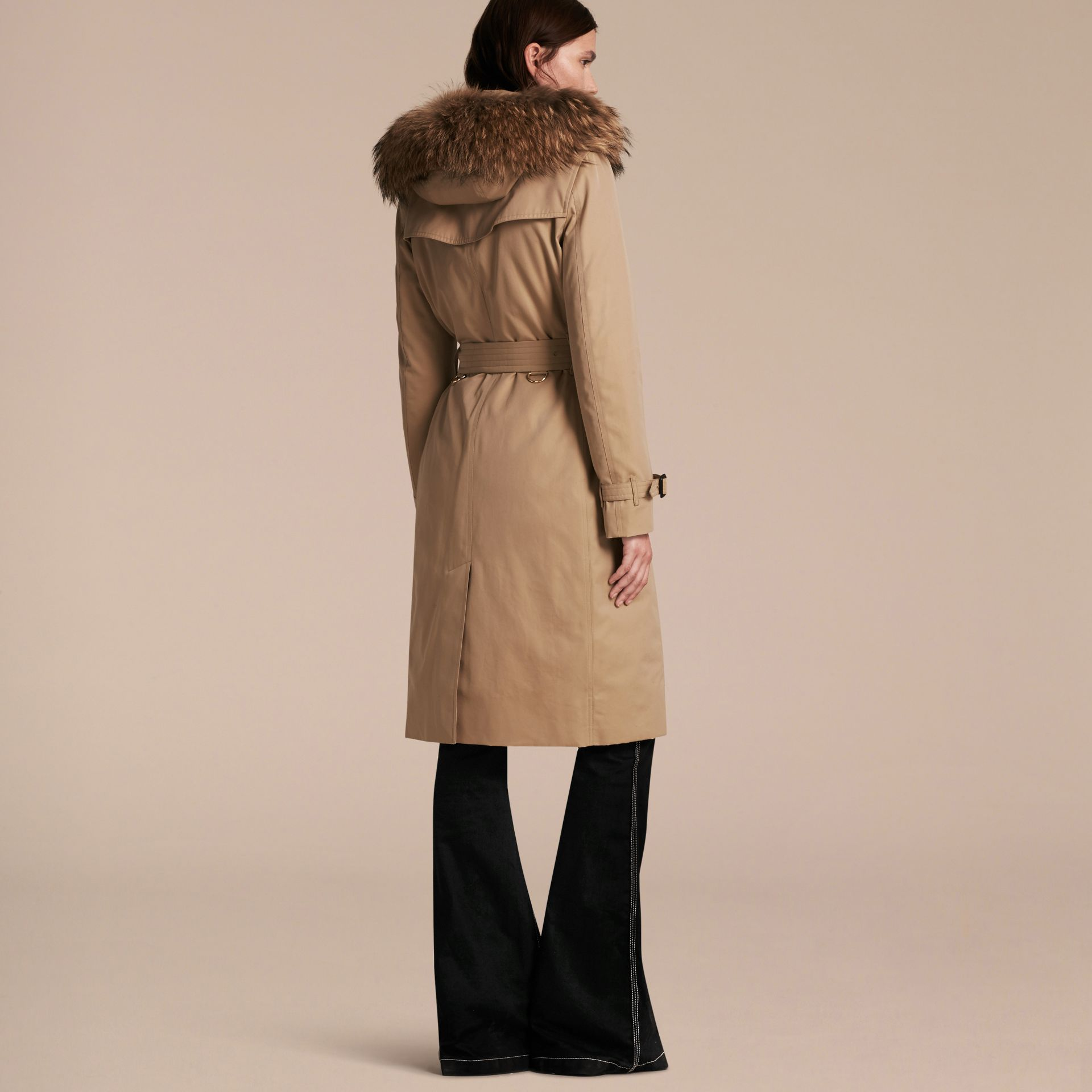 Honey Fur-trimmed Hood Trench Coat with Detachable Warmer Honey - gallery image 3