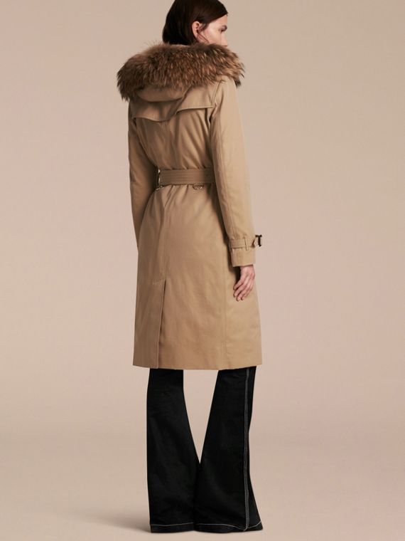 Fur-trimmed Hood Trench Coat with Detachable Warmer in Honey - cell image 2