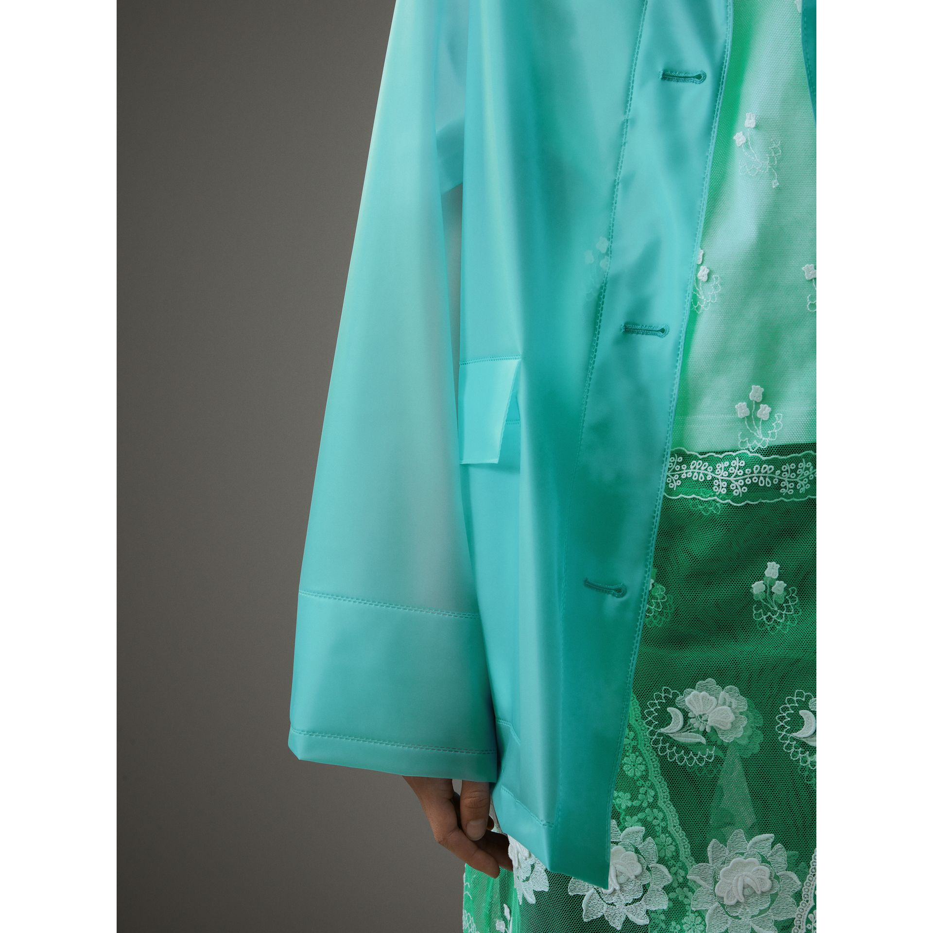 Soft-touch Plastic Single-breasted Jacket in Turquoise - Women | Burberry - gallery image 5