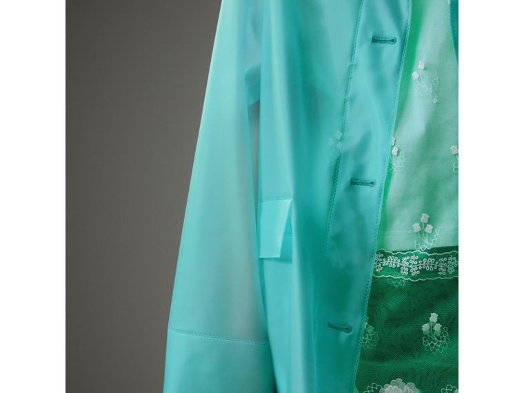 Soft-touch Plastic Single-breasted Jacket in Turquoise - Women | Burberry - cell image 4