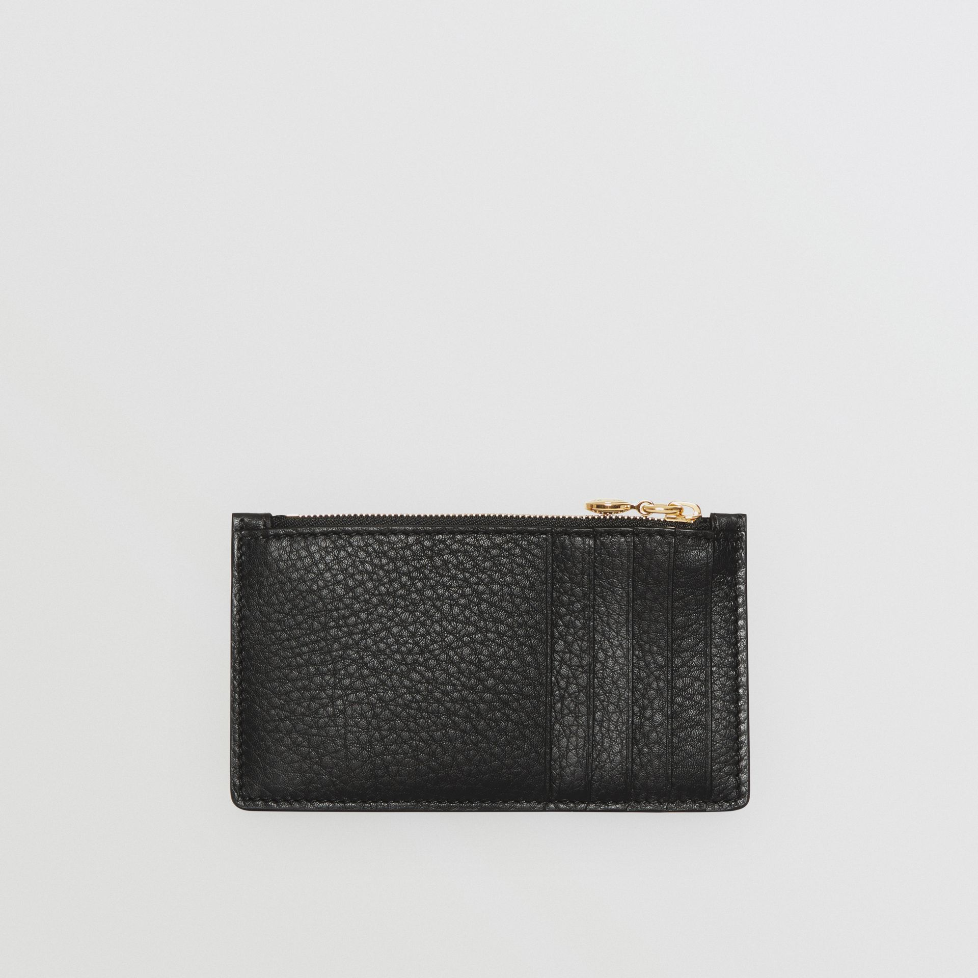 Leather Zip Card Case in Black - Women | Burberry - gallery image 4