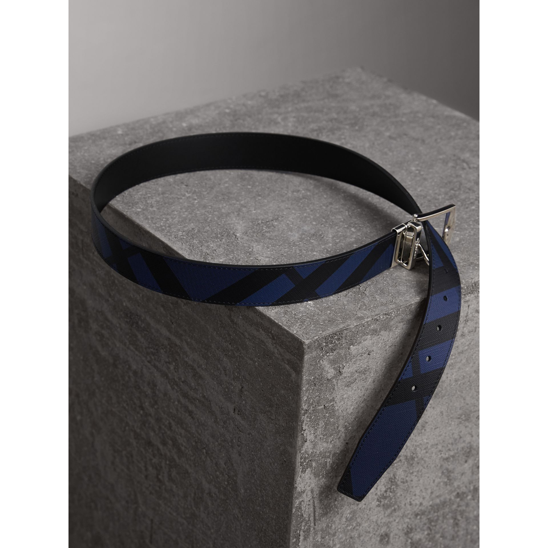 Reversible London Check and Leather Belt in Bright Lapis/black - Men | Burberry Canada - gallery image 4