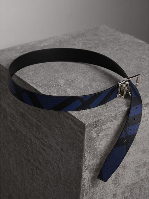 Reversible London Check and Leather Belt in Bright Lapis/black - Men | Burberry - cell image 3
