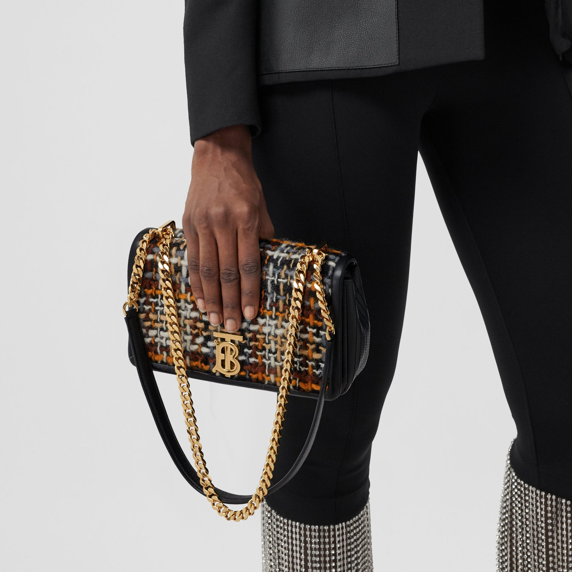Small Tweed and Lambskin Lola Bag in Black - Women | Burberry Australia - gallery image 8