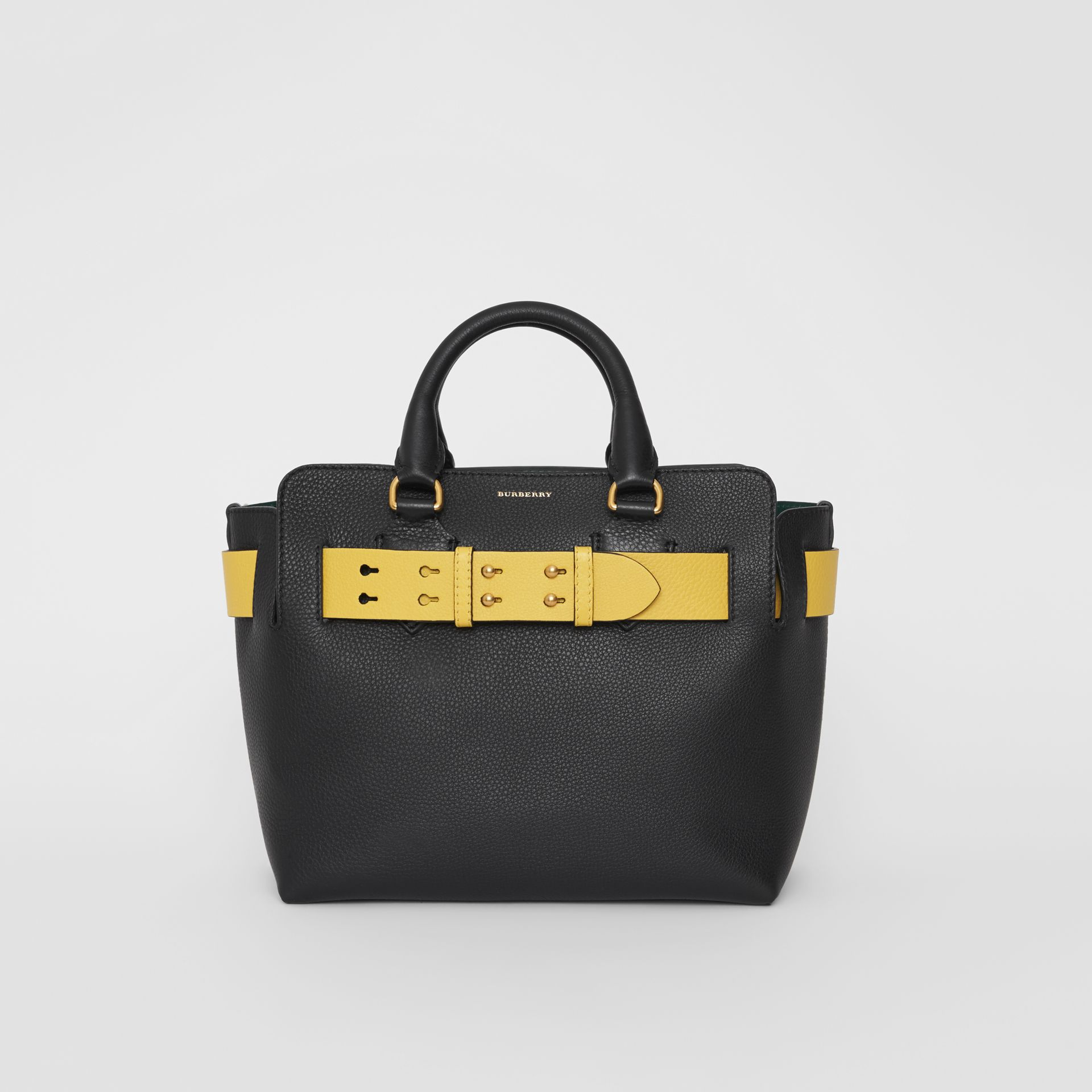 The Small Leather Belt Bag in Black/yellow - Women | Burberry United Kingdom - gallery image 0