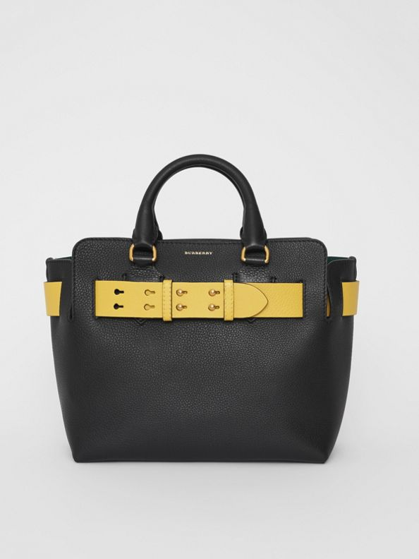 Borsa The Belt piccola in pelle (Nero/giallo)