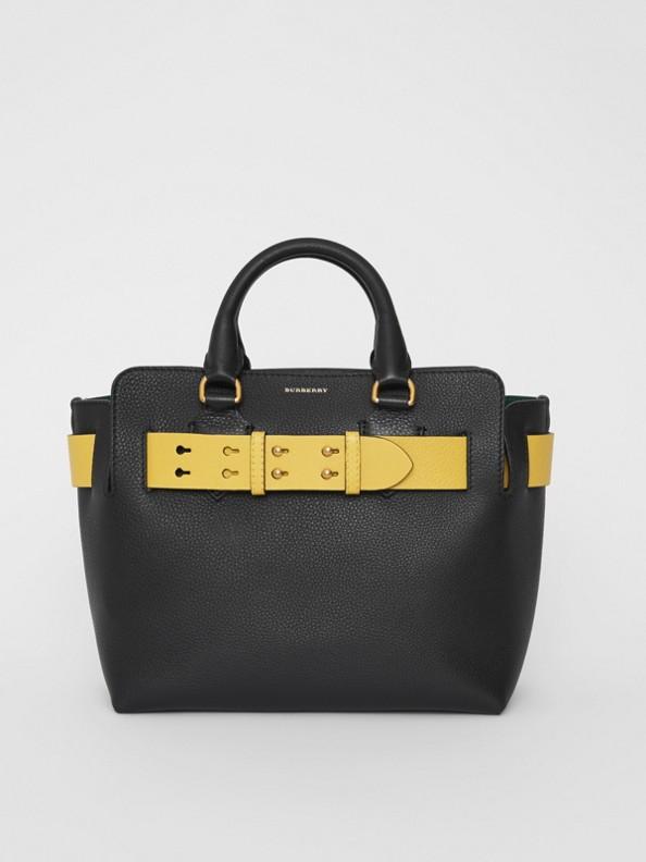 Bolso Belt pequeño en piel (Negro / Amarillo)