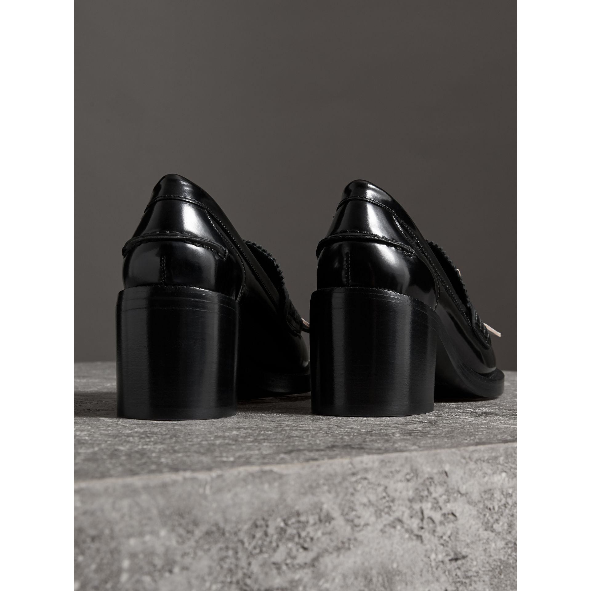 Contrast Kiltie Fringe Leather Block-heel Loafers in Black - Women | Burberry - gallery image 2