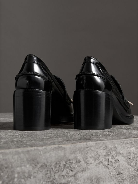 Contrast Kiltie Fringe Leather Block-heel Loafers in Black - Women | Burberry Hong Kong - cell image 3
