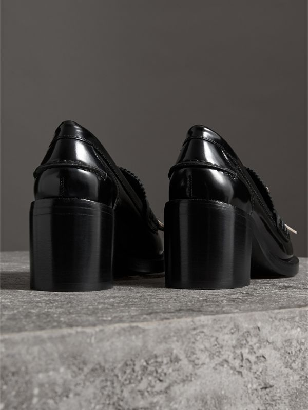 Contrast Kiltie Fringe Leather Block-heel Loafers in Black - Women | Burberry - cell image 3