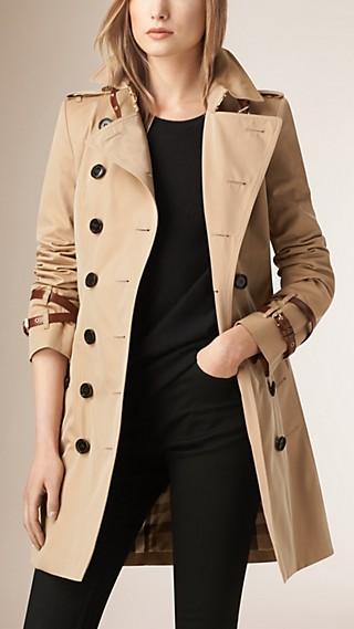 Leather Detail Gabardine Trench Coat