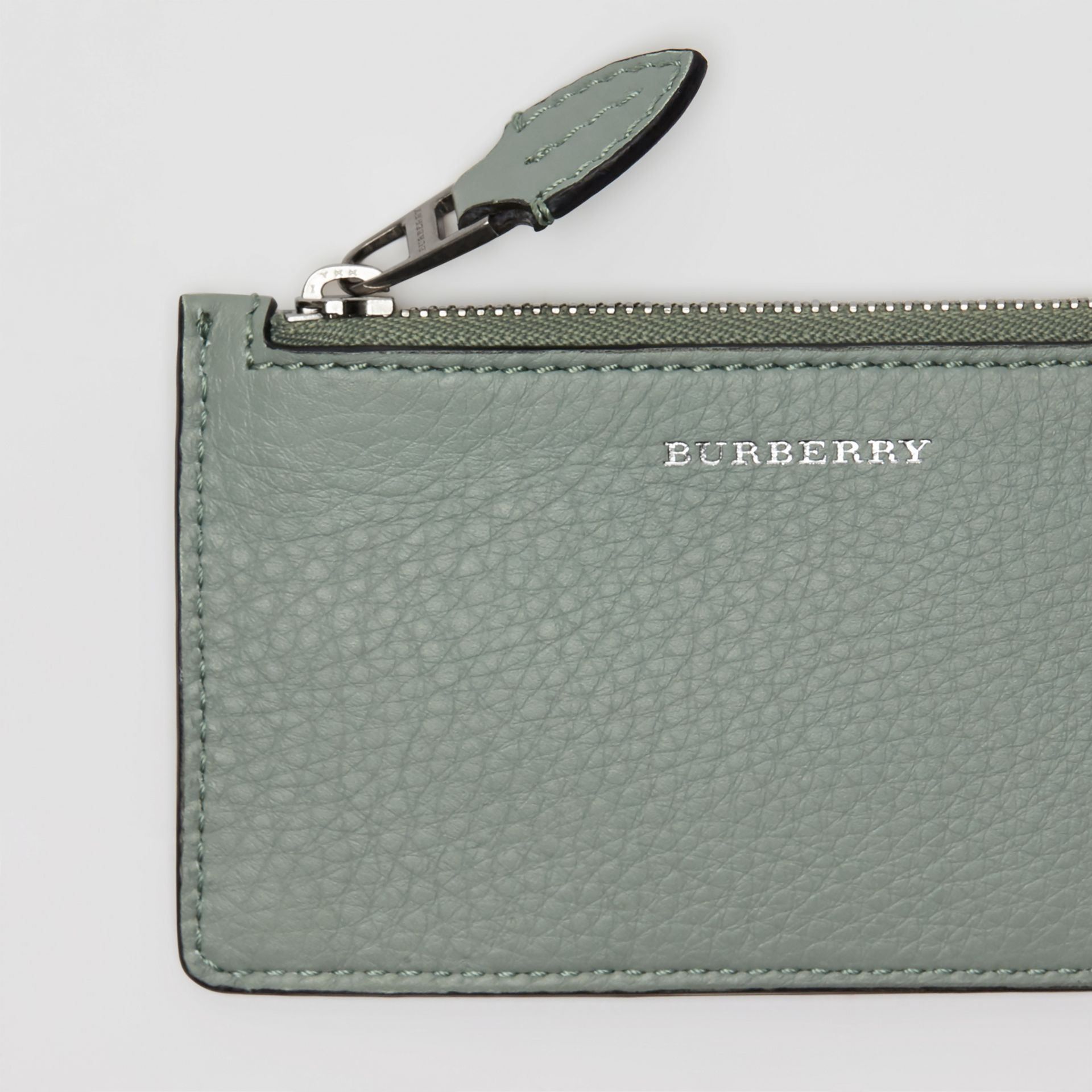 Two-tone Leather Card Case in Grey Blue - Women | Burberry Singapore - gallery image 1