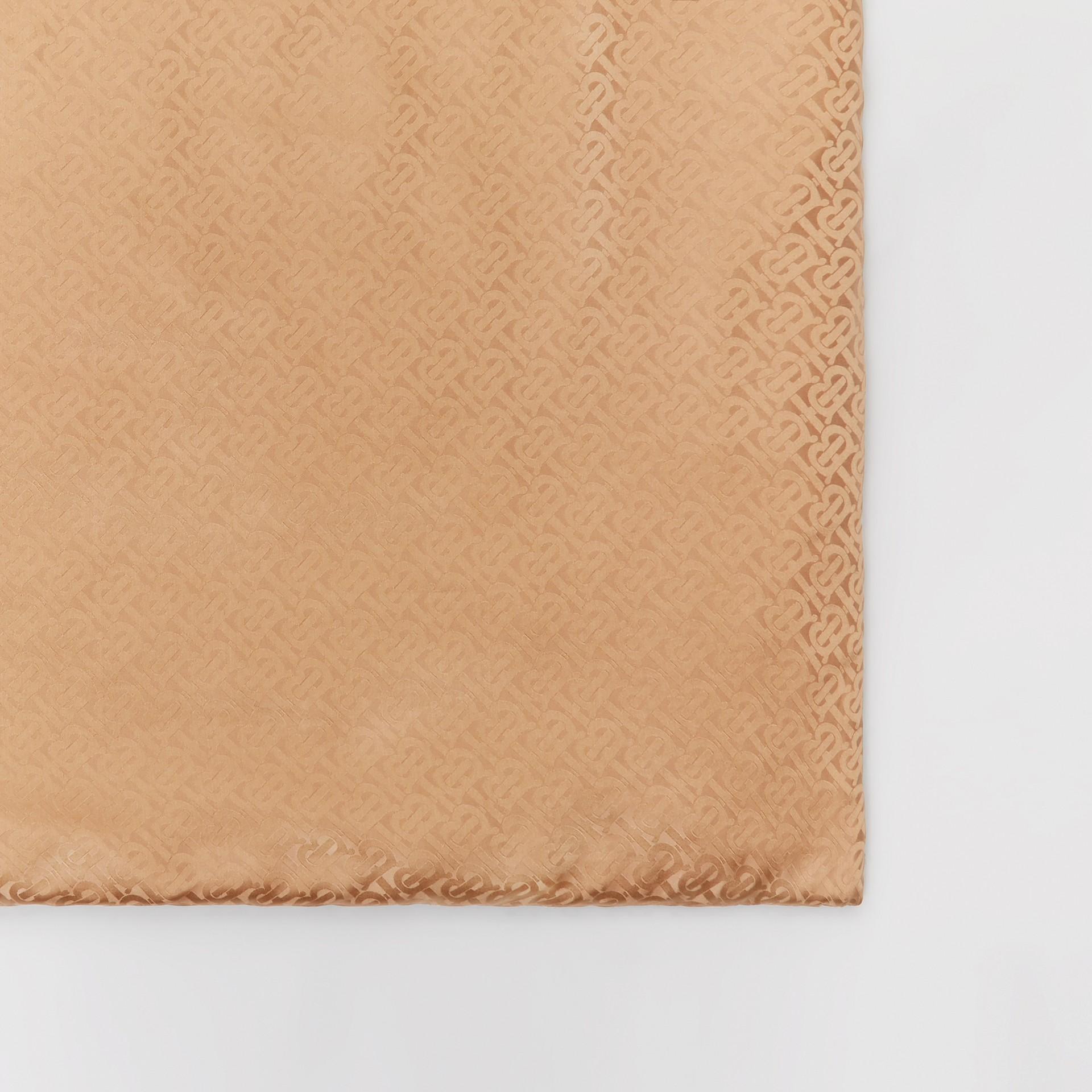 Unicorn Print Monogram Silk Satin Jacquard Throw in Camel | Burberry Canada - gallery image 3