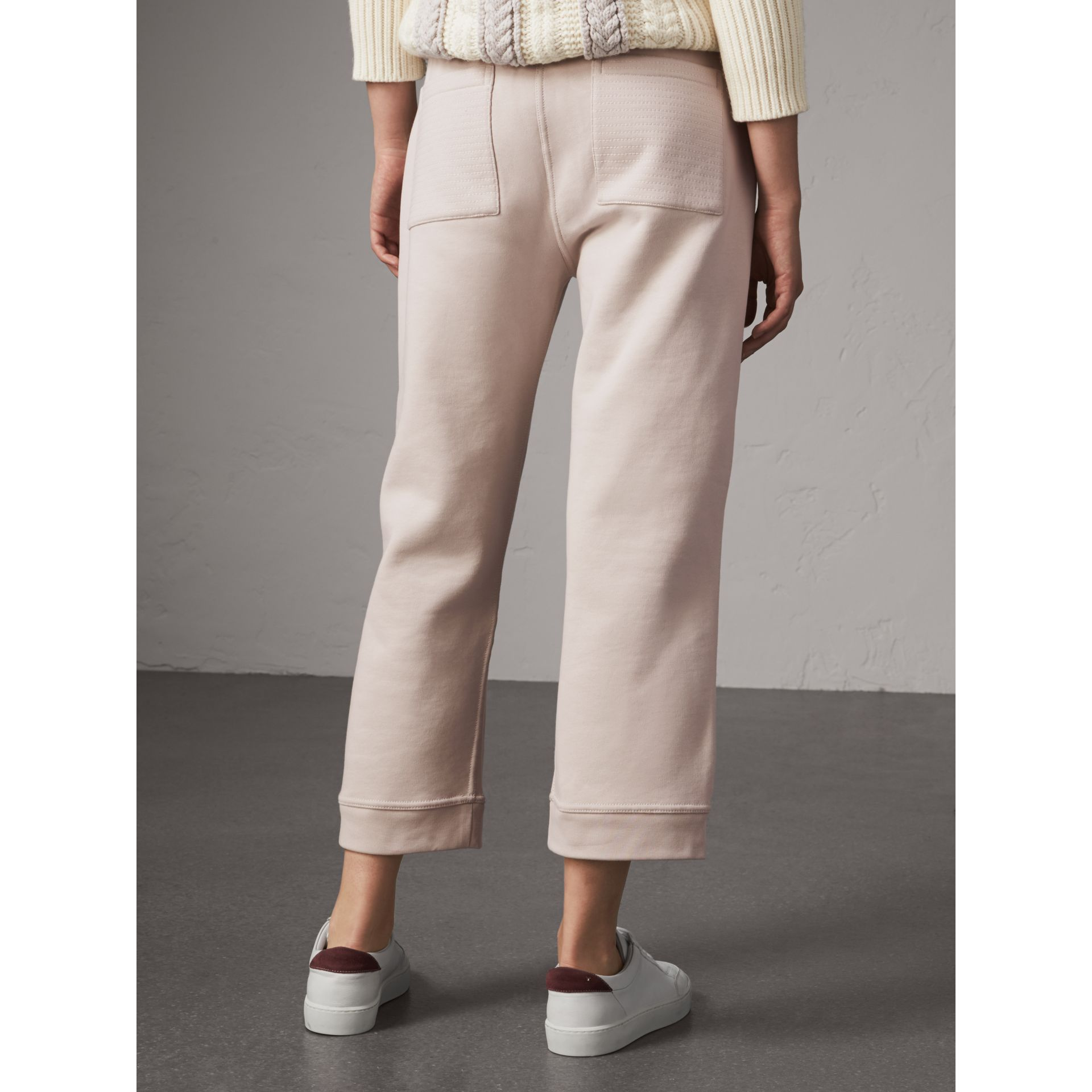 Cropped Jersey Sweatpants in Winter White - Women | Burberry - gallery image 3