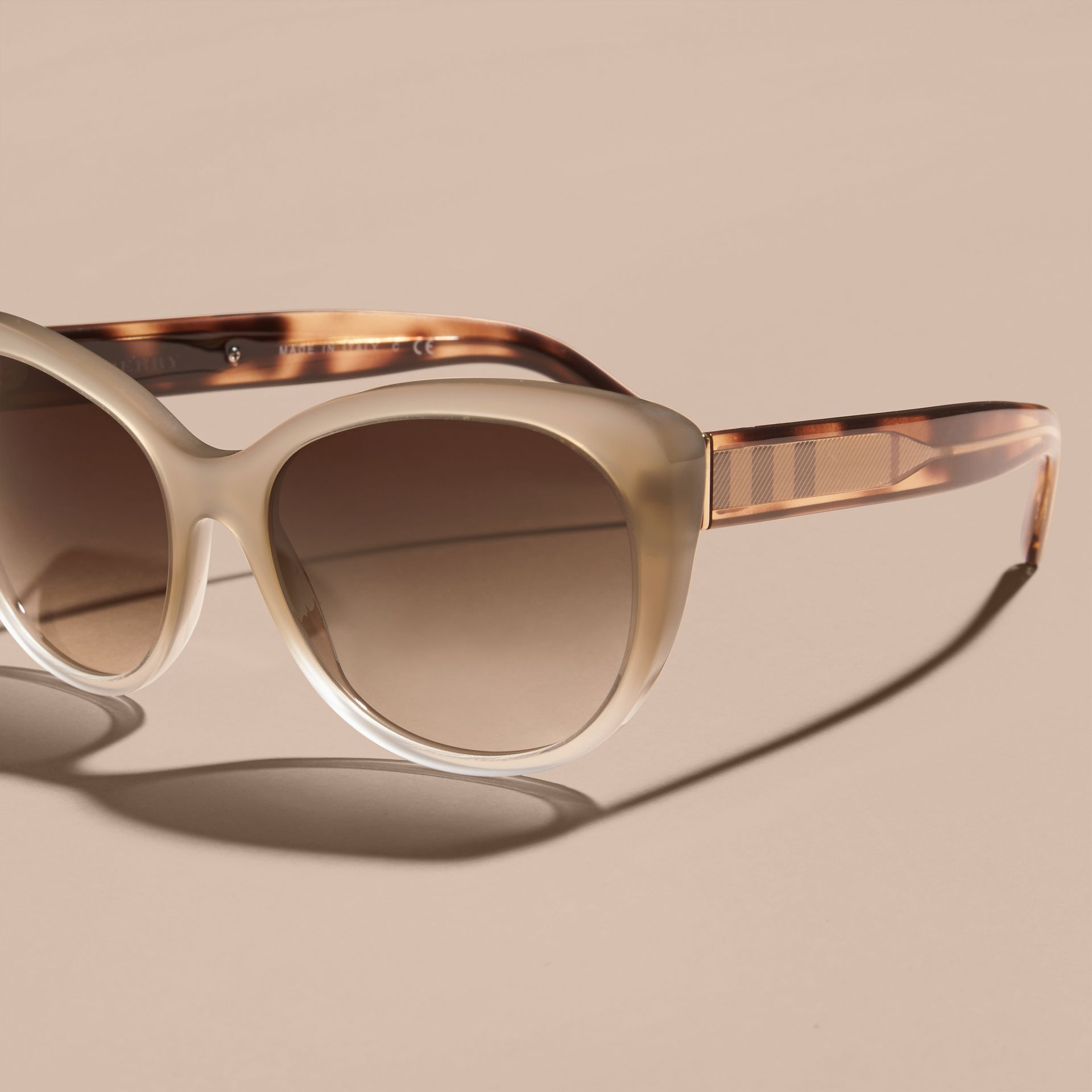 Check Detail Cat-eye Sunglasses in Chino Grey - Women | Burberry - gallery image 3