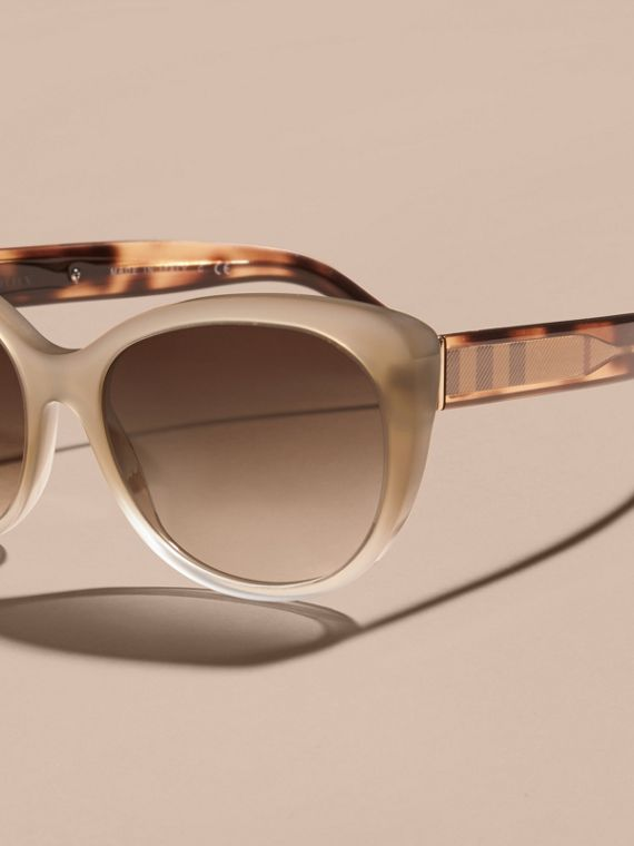 Check Detail Cat-eye Sunglasses in Chino Grey - Women | Burberry Canada - cell image 2