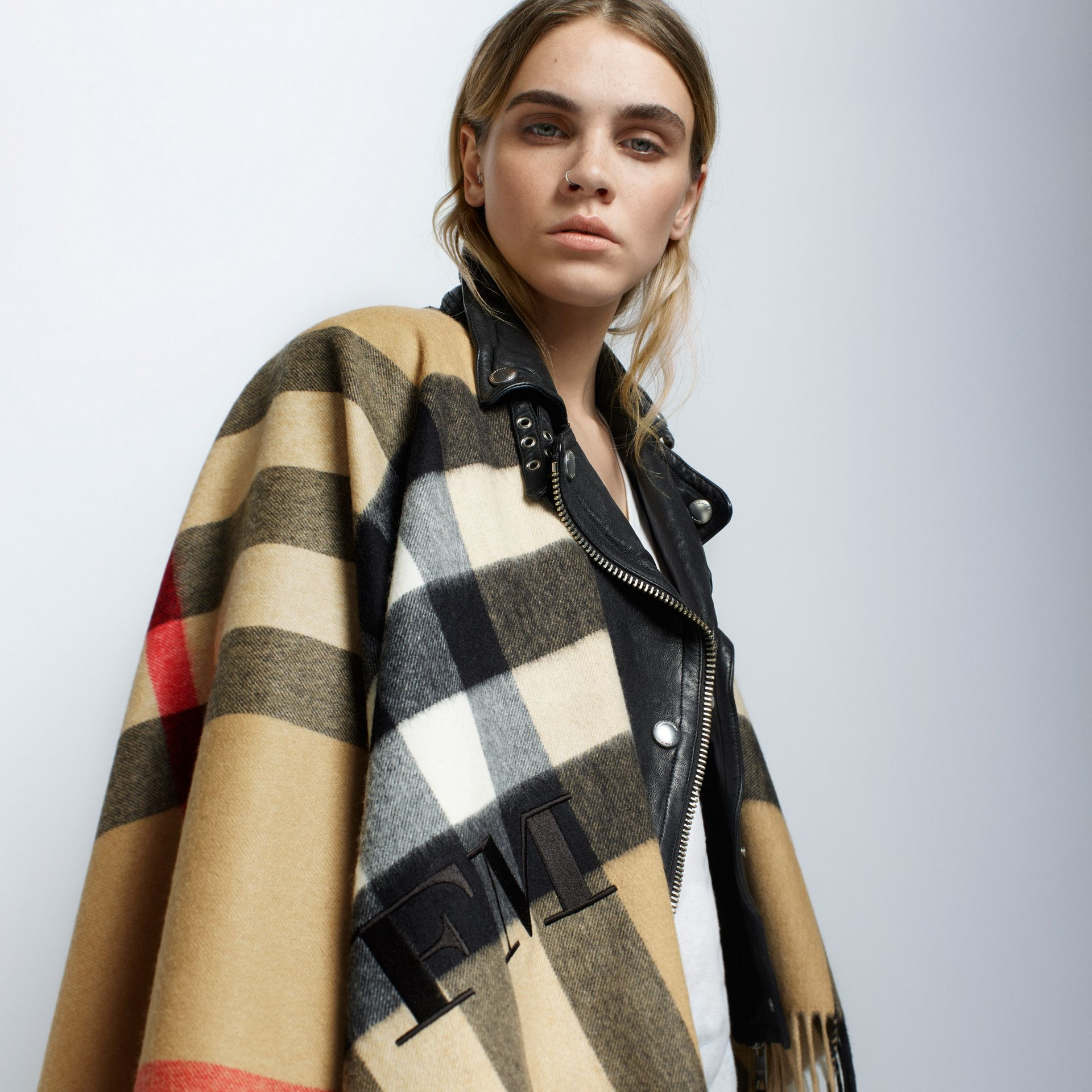 Camel Check Cashmere and Wool Poncho Camel - gallery image 9