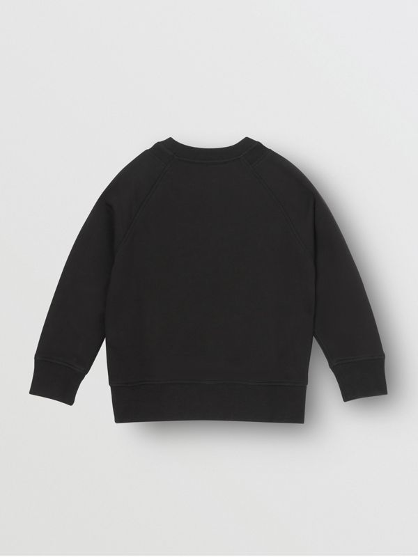 Kingdom Print Cotton Sweatshirt in Black | Burberry Australia - cell image 3