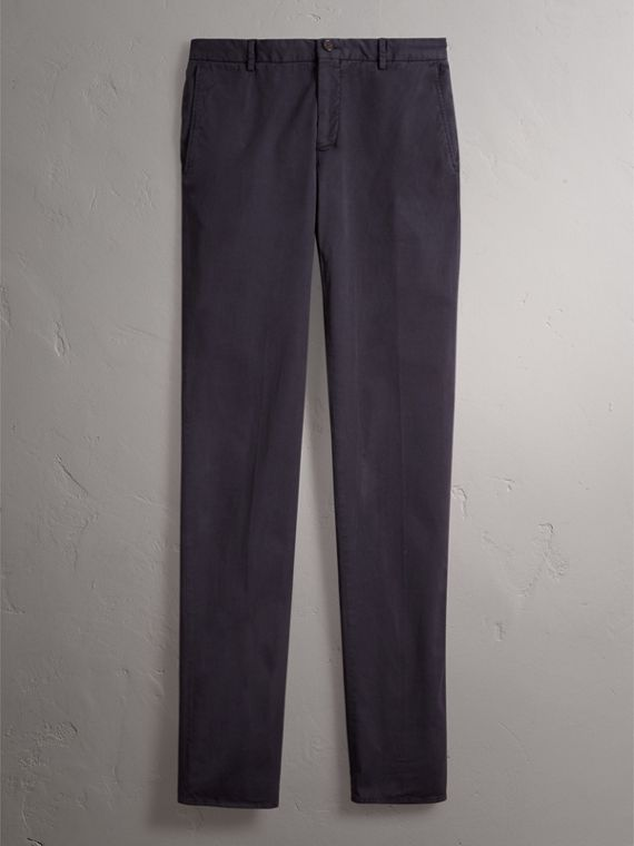 Slim Fit Stretch Cotton Chinos in Navy - Men | Burberry - cell image 3