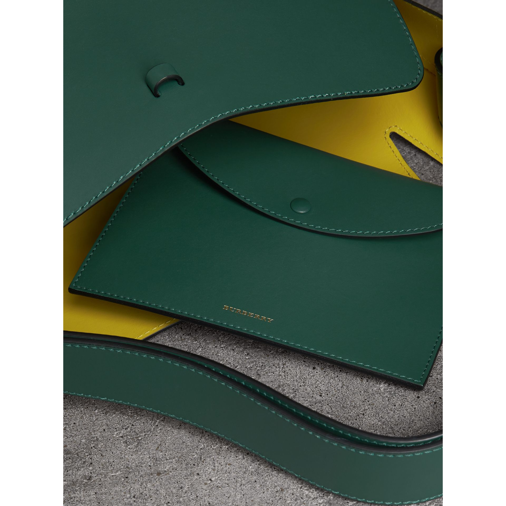 The Large Leather Bucket Bag in Viridian Green - Women | Burberry - gallery image 4