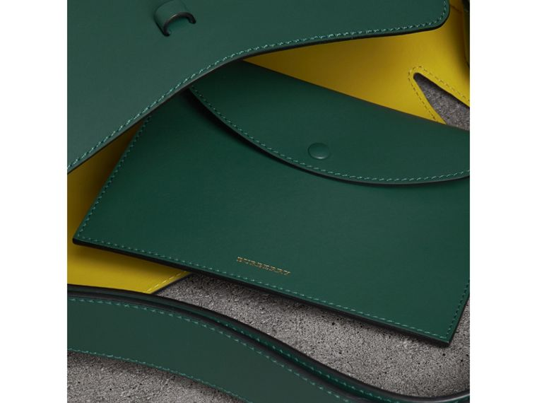 The Large Leather Bucket Bag in Viridian Green - Women | Burberry - cell image 4