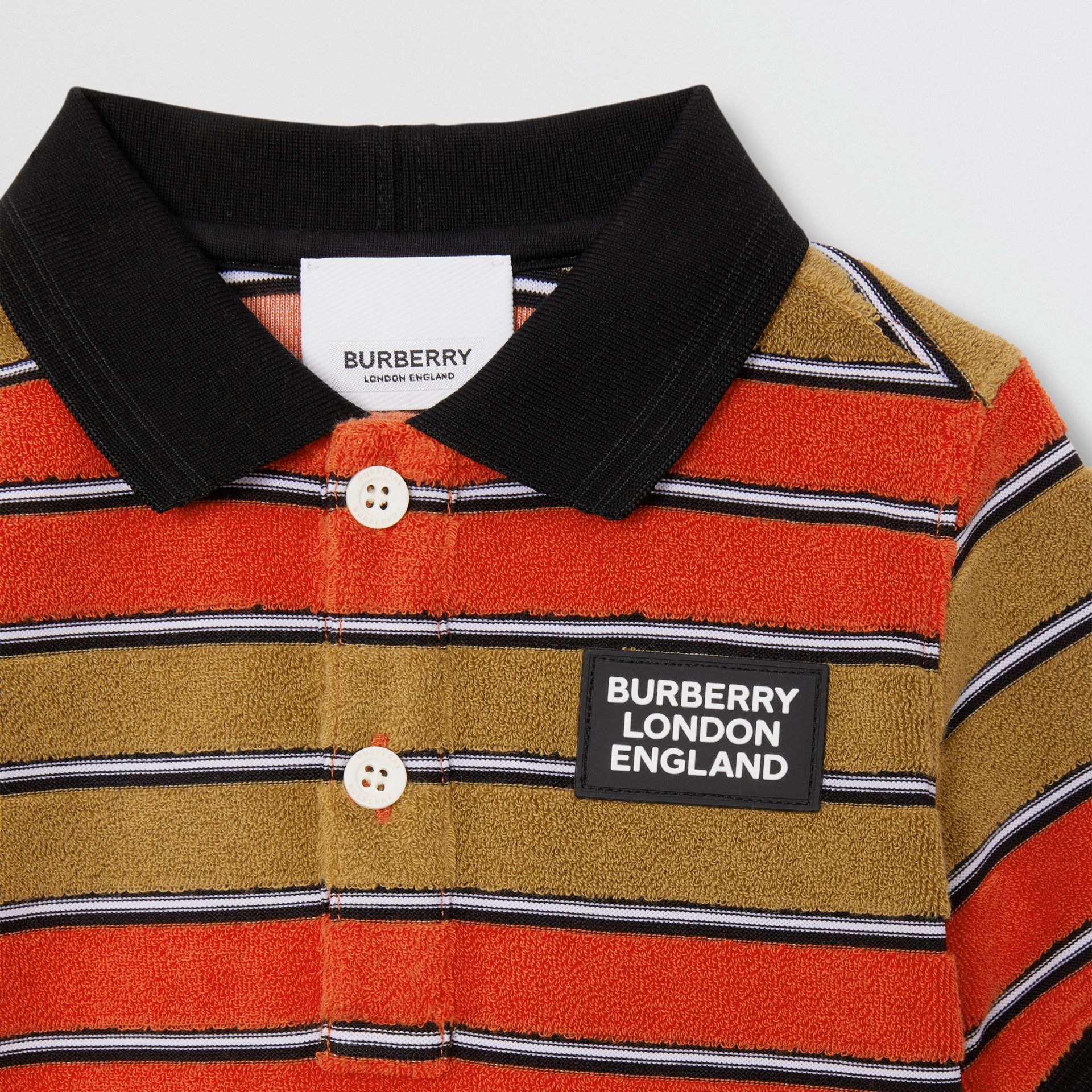 Logo Appliqué Striped Towelling Polo Shirt in Vermilion Red - Children | Burberry - gallery image 4