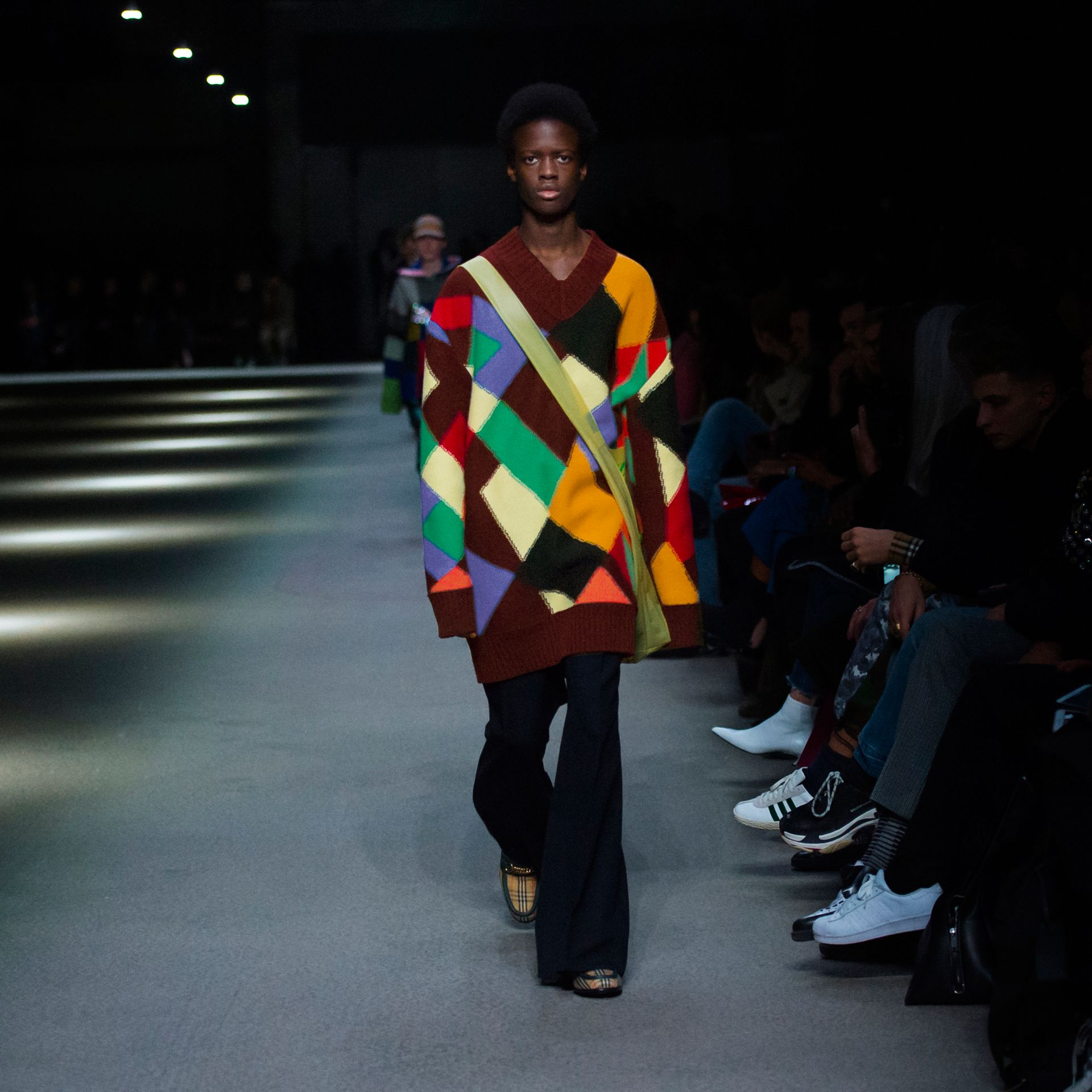Patchwork Wool V-neck Sweater in Deep Claret | Burberry Australia - gallery image 5