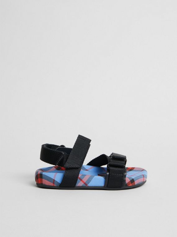 Ripstop Strap Check Cotton Sandals in Cornflower Blue | Burberry United Kingdom - cell image 3