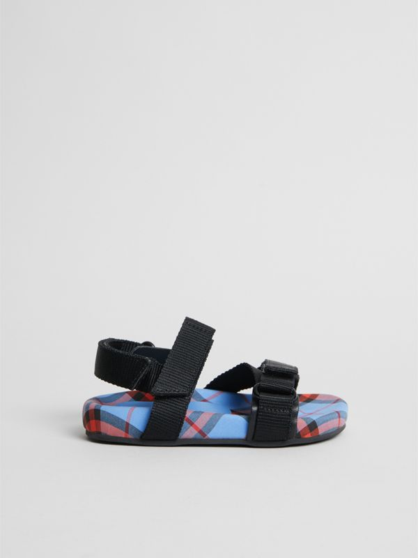 Ripstop Strap Check Cotton Sandals in Cornflower Blue - Children | Burberry - cell image 3