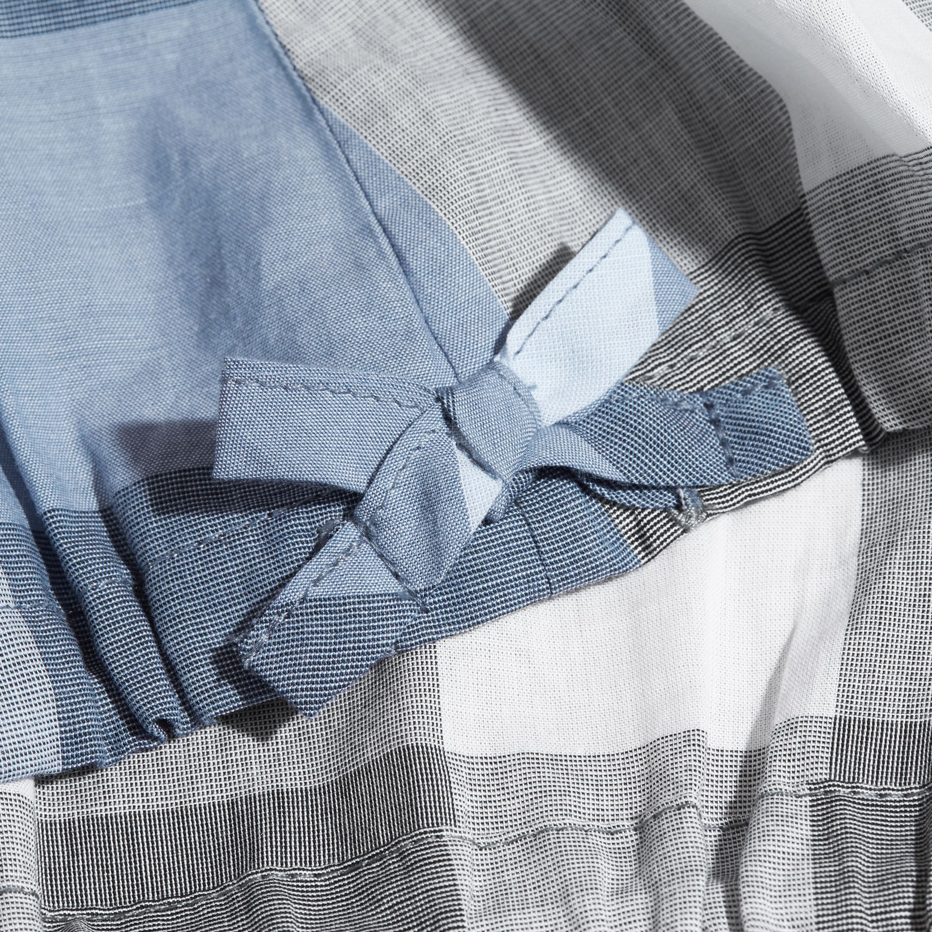Gathered Check Cotton Top in Canvas Blue | Burberry - gallery image 2