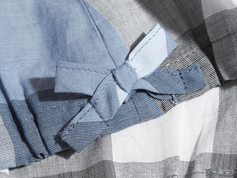 Gathered Check Cotton Top in Canvas Blue | Burberry - cell image 1