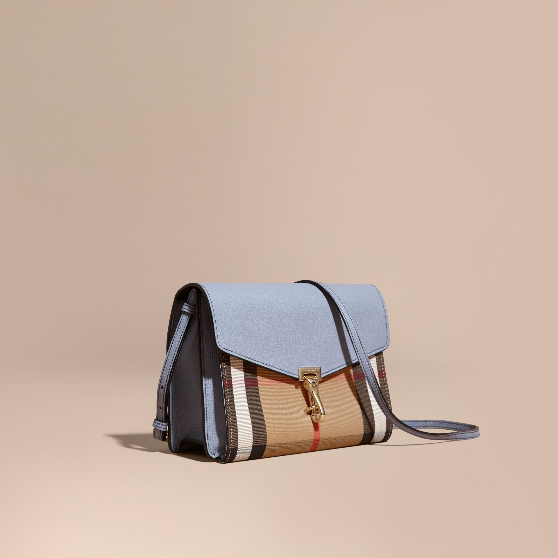Small Leather and House Check Crossbody Bag in Slate Blue - gallery image 1