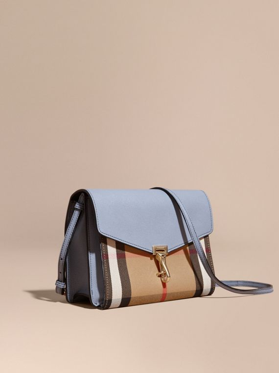 Small Leather and House Check Crossbody Bag in Slate Blue