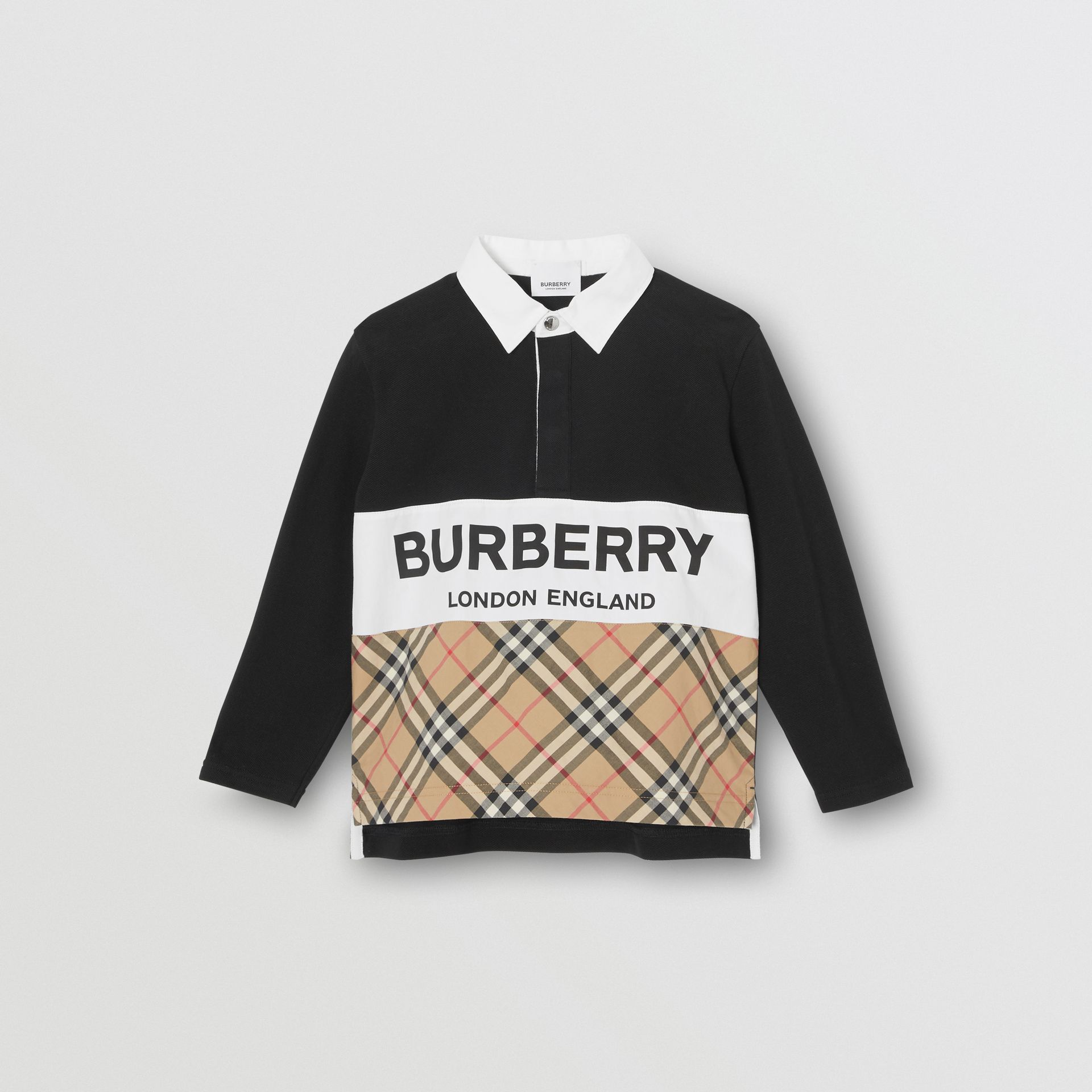 Long-sleeve Logo Print Check Panel Polo Shirt in Black | Burberry - gallery image 0