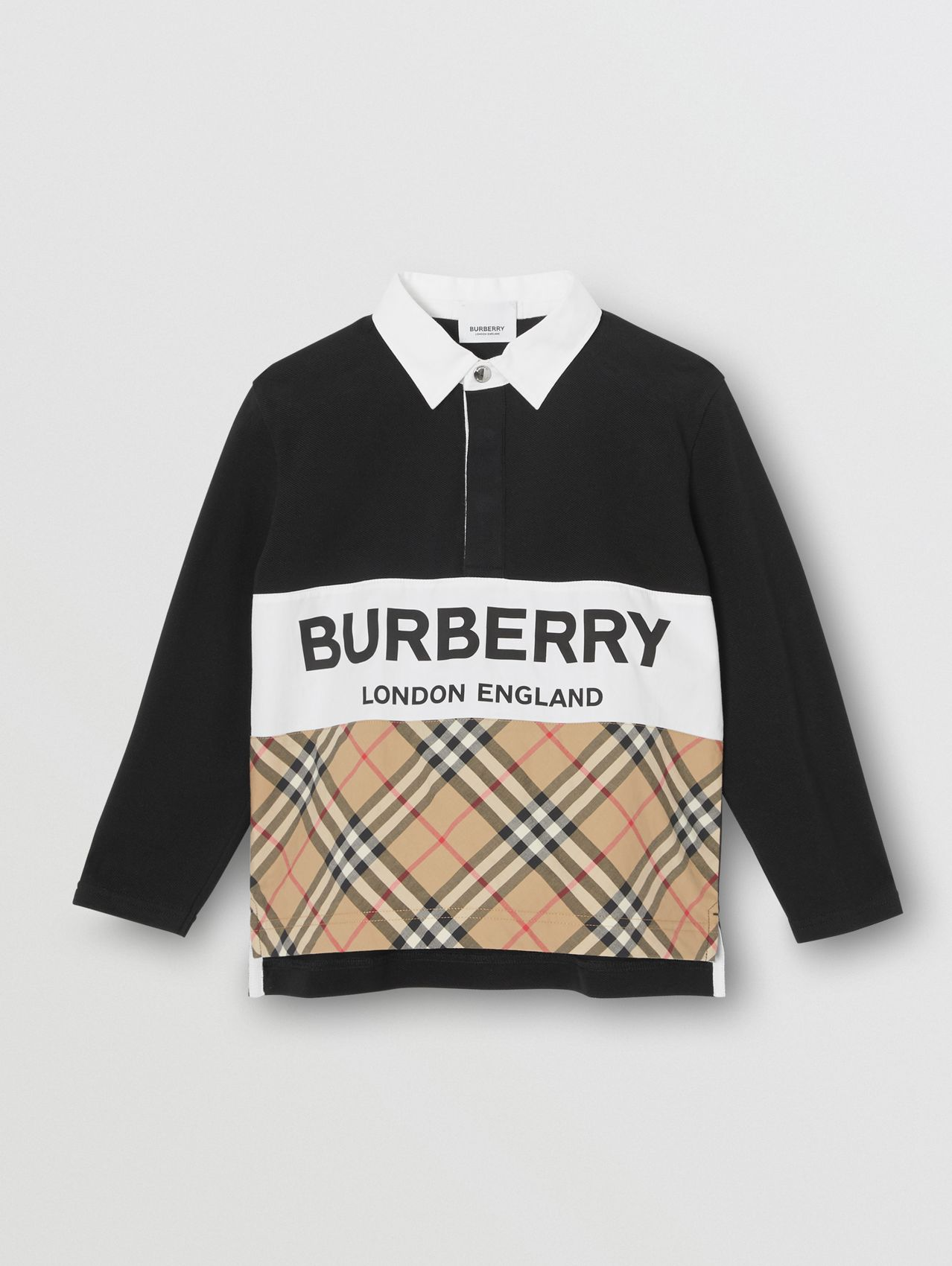 Long-sleeve Logo Print Check Panel Polo Shirt in Black