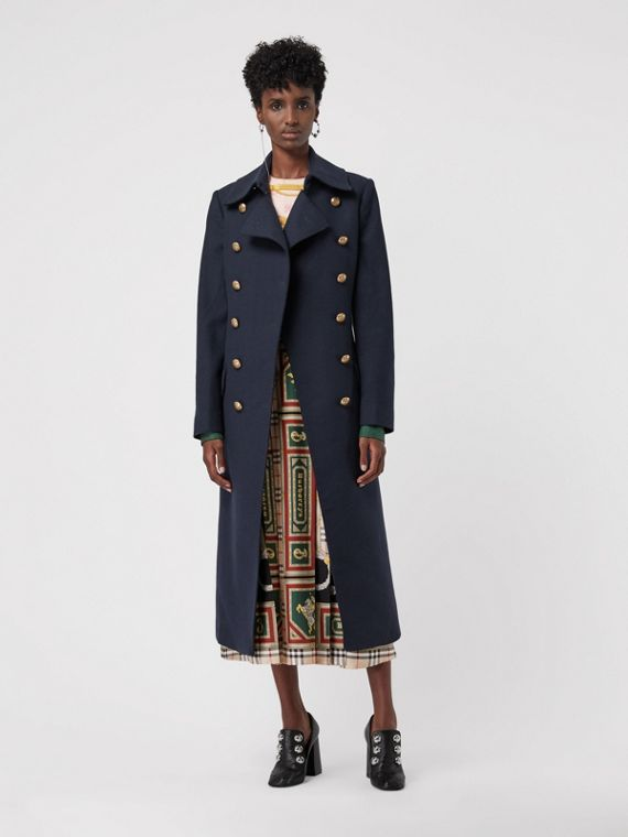 Double-breasted Wool Cashmere Blend Tailored Coat in Navy