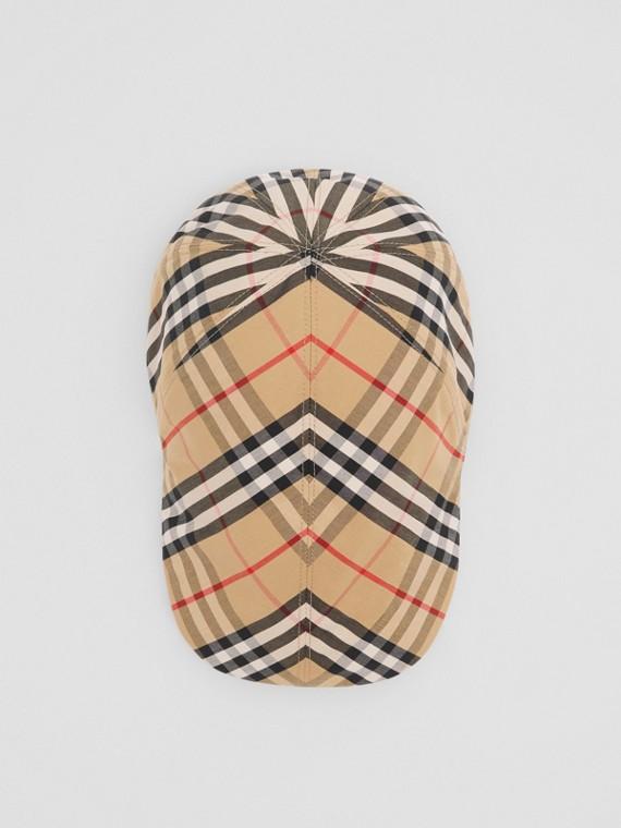 Vintage Check Cotton Flat Cap in Archive Beige