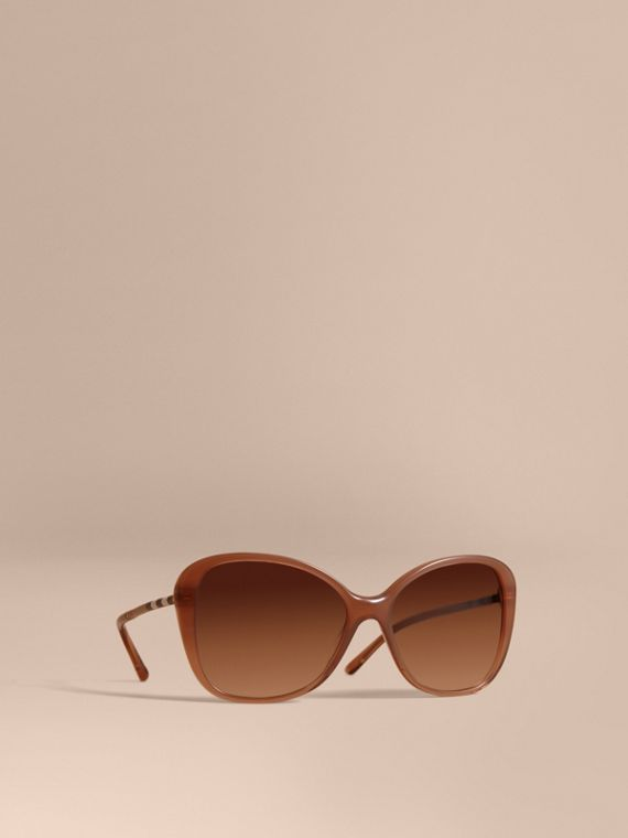 格紋細節設計蝶形鏡框太陽眼鏡 裸色