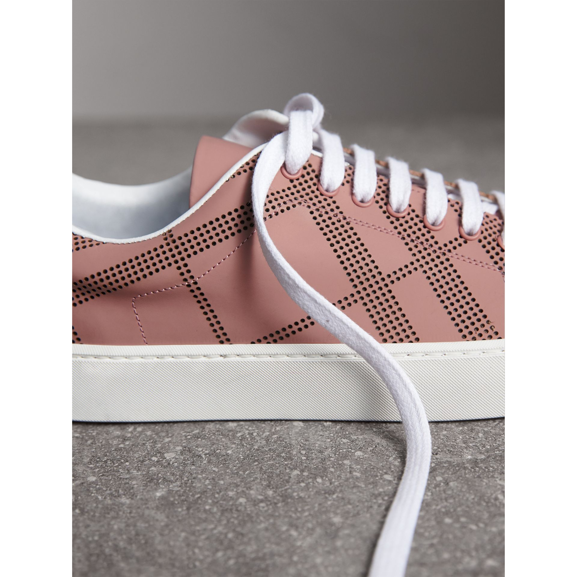 Perforated Check Leather Sneakers in Rose Pink - Women | Burberry - gallery image 1