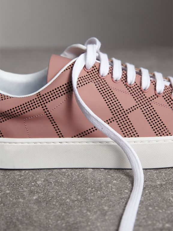 Perforated Check Leather Sneakers in Rose Pink - Women | Burberry - cell image 1