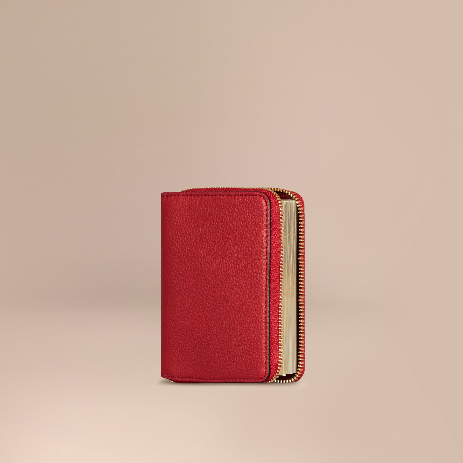 Ziparound Grainy Leather Mini Notebook in Parade Red | Burberry - gallery image 1
