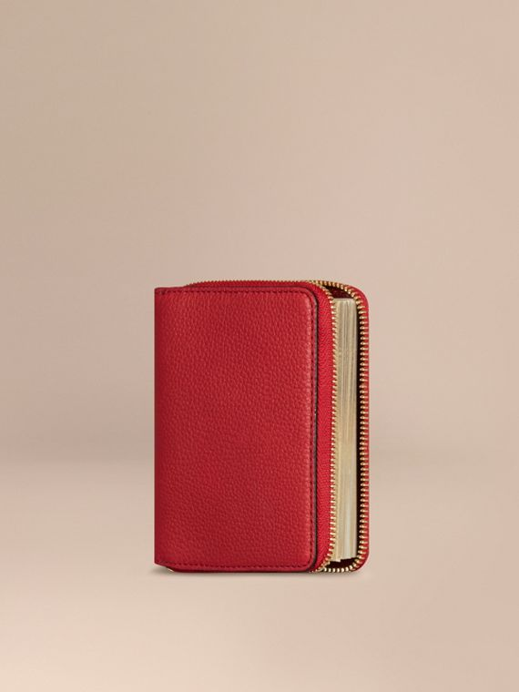 Ziparound Grainy Leather Mini Notebook in Parade Red