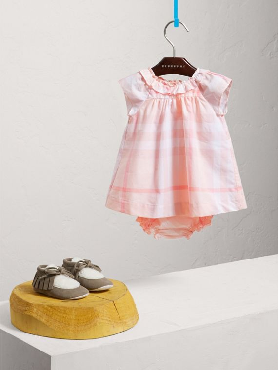 Check Cotton Poplin Dress with Bloomers in Ice Pink