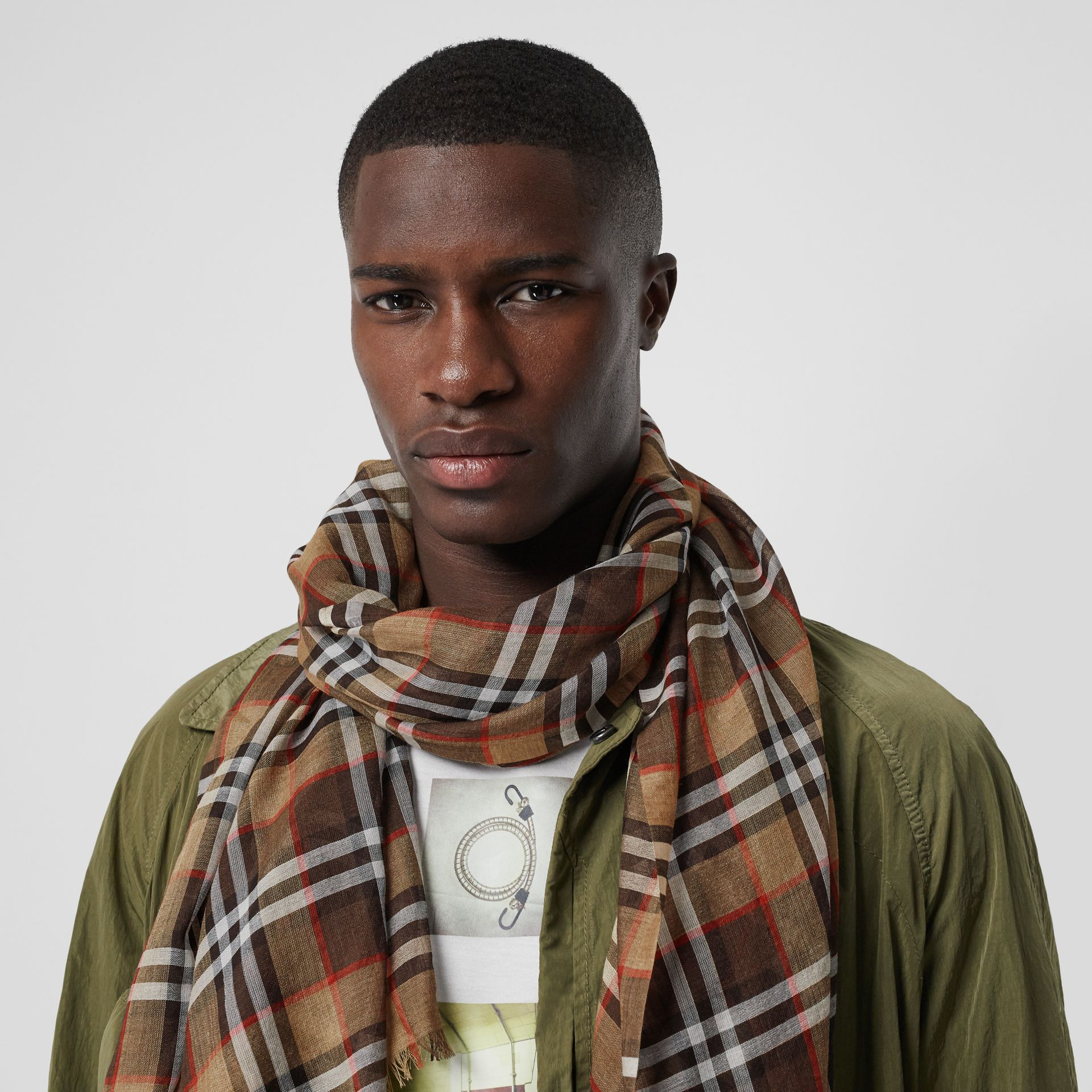 Vintage Check Lightweight Wool Silk Scarf in Mahogany | Burberry United Kingdom - gallery image 2